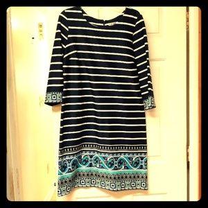 Madison Leigh Navy/ White Striped Sheath Dress 18